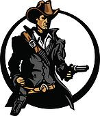 Cowboy Mascot Silhouette Aiming Guns