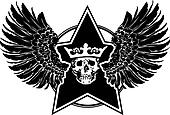 Wings, Skull And Star Sign