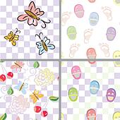 Baby seamless patterns with flower, shoes, footprints set