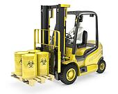 Fork lift truck with biohazard barrels