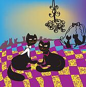 Dancing ball of cats cartoon