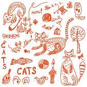 Cats doodle set funny cartoon
