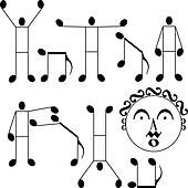 musical notes as a man and dog