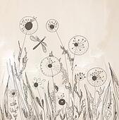 Dandelion floral background artistic in pastel colors