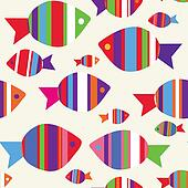 Fishes seamless funny pattern for kids