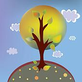 Autumn tree landscape cartoon with clouds