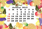 January - monthly calendar 2013 in frame with fruits