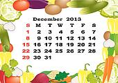 December - monthly calendar 2013 in frame with vegetables