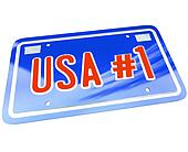 USA Number One 1 License Plate Red White Blue