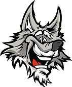 Happy Smiling Cartoon Wolf Mascot Vector Graphic