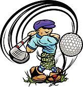 Golfer Cartoon Swinging Golf Club at Ball on Tee