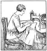 proper sitting at a sewing machine