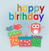 cute owl, birds and gift boxes - happy birthday card