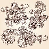 Henna Notebook Doodles Vector Set