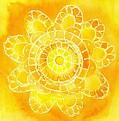Watercolor a pattern in the form of an  lace doily on a yellow background