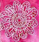 Water color the sample in the form of a lacy napkin on a red background
