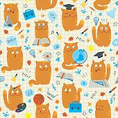 Seamless Pattern - Cats Studing Sch