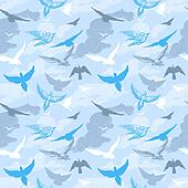 Birds flying in the sky seamless pattern
