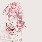 Retro flowers romantic roses vector illustration