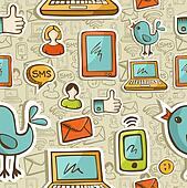 Social media cartoon icons colorful pattern
