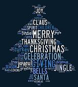 Christmas tree word clouds in blue background