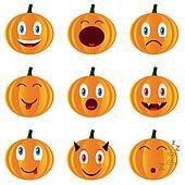 Nine pumpkins