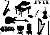 silhouettes of musical instruments.