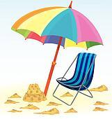 Beach umbrella chair sand castle