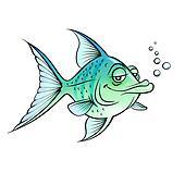 Green cartoon fish