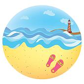 Sea holidays icon funny cartoon