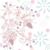 Romantic background with grape and flowers