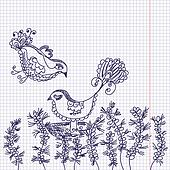 Doodle card with birds and flowers in the copybook