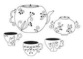 Set of cups and pot with floral pattern