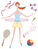 Sport girl with hoop and other equipment