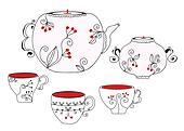 Tea set with cups and pot