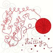 Knitting card with red ball