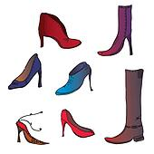 Fashion shoes of different colors