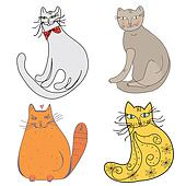 Cartoon set of cats in different styles