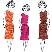 Retro fashion model girls in dresses