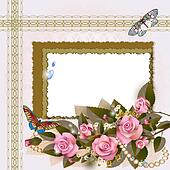 Frame with pink roses and pearls