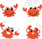 Cartoon crab in different poses isolated on white