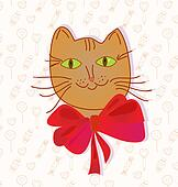 Greeting card with funny cat and candy pattern
