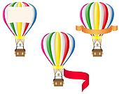 hot air balloon and blank banner illustration