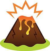 Explosing volcano with lava