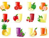 set of icons with fruit juice illustration