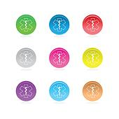 Medical star symbols in color circles isolated on white.