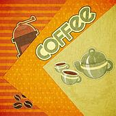 coffee cups, coffee pot, coffee mill and coffee beans