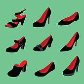 Women shoes silhouettes isolated on green background.