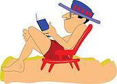 man on beach relaxing