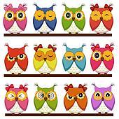 Set of 12 owls
